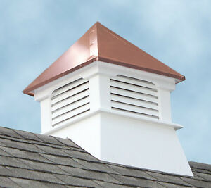 Accentua Teton Vinyl Cupola with Copper Roof, 20 in. Square, 26 in. High