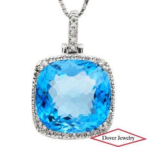 Diamond 26.55ct Blue Topaz 18K Gold Elegant Pendant 10.6 Grams NR