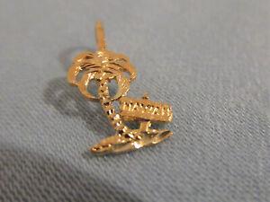 Small Hawaii Palm Tree Pendant. 14k Yellow Gold. Diamond Cut.