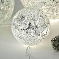 Kugellampe SILBER MOSAIK D. 15cm creme beige Glas mit Lichterkette Formano