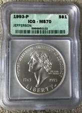 1993 P ICG MS 70 Jefferson Silver Dollar - T