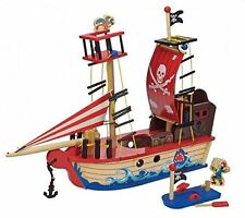Toyland Denmark PIRATE BOAT 40cm Tall Wooden Ship + Figures (Kids 3+) MIB NEW!