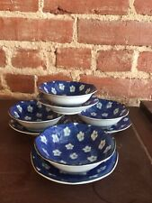 4 Vintage Blue Floral Oriental Tea Bowl And Plate Sets Made In Japan China