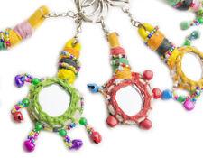 Llavero Espejo Colorido llaveros Hippie moda llaves India con pequeños cascabel