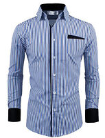 [FINAL SALE] TW Mens Classic Slim Fit Vertical Striped Long sleeve Dress Shirt