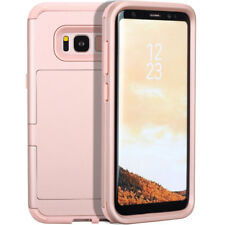 Heavy Duty Hybrid Credit Card Holder Case with Mirror For Samsung Galaxy S8 Plus