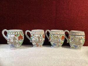 "Lot of 4. Hand Made Hand Painted Coffee Tea Cups  3.75"" Ikaros Rhodes, Greece"