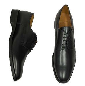 Bally Men's Shoes Size 10 ( UK 9 ) Salfano Black Leather Plain Toe Oxfords
