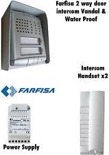 Farfisa 2 vías de Intercomunicador vandalismo/sistema de prueba de agua/Kit. diseño italiano