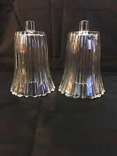 "Homco Home Interior Clear Pleated Glass Votive Cup Candle Holders 5"" Tall"