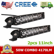 "2X 11"" inch 50W CREE Single Row LED Combo Offroad Driving Lamp Work Light Bar"