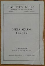 Il Trovatore programme Sadler's Wells Opera Season, 11th Feb 1952 Dora Drake
