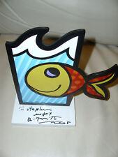 """Rarität Romero Britto """"Boom Fish"""" Orig. 2005 white Base Skulptur + Unterschrift"""