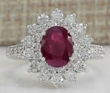 Charming Jewelry 925 Sterling Silver Oval Cut Ruby Halo Ring Proposal Jewelry