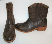 TAOS Brown Leather Embroidered PRIVILEGE Boots 37 6 6.5 Western Cowboy Festival