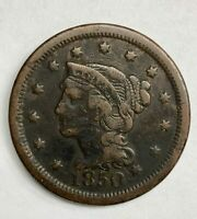 1850 Braided Hair Large Cent 1¢ Very Good