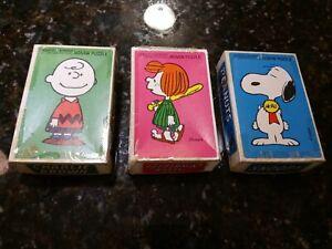 Lot 3 Vtg Milton Bradley 1958 Snoopy Charly Lucy Peanuts Schulz Mini Puzzles