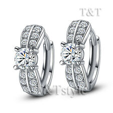 T&T 18K White Gold GF Luxury Hoop Earrings (ED76)