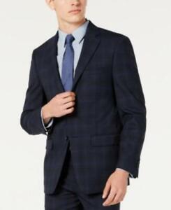 Calvin Klein Men's Long Sleeve Buttoned Stretch Plaid Suit Jacket (Blue, 46)