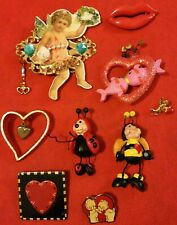 Lot of 9 Vintage Valentine's Day Pins Brooches Cherub, Lips, Kissing Fish, Bees