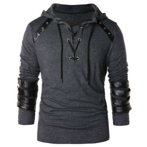 Men's Lace Up Hooded Hoodie Faux Leather Casual Sweatshirt Pullover Sweater Coat