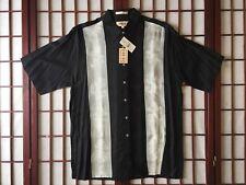 Campia Moda Black Short Sleeve Hawaiian Sport Shirt w Coconut Trees Men Size L