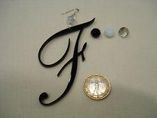 orecchino lettera F 10 cm iniziale ciondolo plexiglass plex cristallo nero
