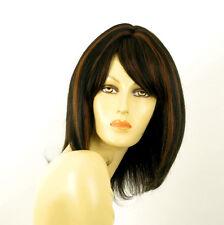 perruque femme 100% cheveux naturel mi-long méchée noir/cuivré LISE 1b30