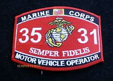 MOS 3531 MOTOR VEHICLE OPERATOR PATCH HAT US MARINES PIN UP USS FMF MWCS WOW
