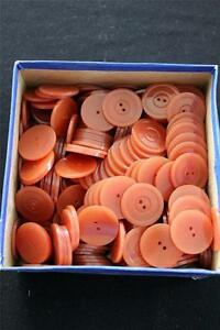 "RARE  48 PC LOT DEADSTOCK 1930'S  BURNT ORANGE  OPAQUE BUTTONS  1""  DIAMETER"