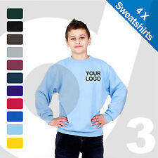 4 X Kids Personalised Embroidered / Printed Sweatshirts Customised Text/Logo