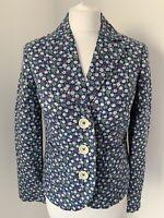 Stunning BODEN Blue & Green Ditsy Floral Linen Blazer Jacket UK 8