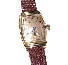 Vintage Working BULOVA 17 Jewel 14K Gold Art Deco Men's Wrist Watch 10BA, Clean!