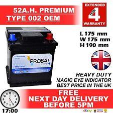 Fiat 002 002L / 202 car battery type 12v 52ah 420cca 4 year warranty 24HR DEL* £