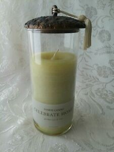 """Yankee Candle Celebrate Home Garden Rose & Lime Lidded 8"""" Glass Pillar Candle"""