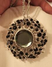 Lovely Midnight Blue Rnd & Black Rhinestones Leafy Silvertone Brooch Pin Pendant