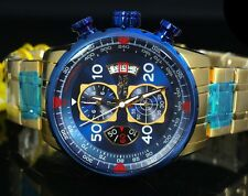 INVICTA AVIATOR 19173 MEN'S 18k GOLD ION PLATED BLUE CHRONOGRAPH WATCH BRAND NEW