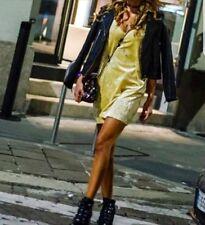 ZARA NEW  VELVET YELLOW DRESS SIZE L UK 12