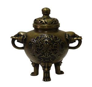 Chinese OrientalFine Bronze Metal Incense Burner Display cs3080
