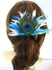 New Peacock Diamante Feather Hair Clip Fascinator Handmade in UK 'Valerie'