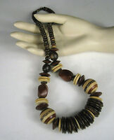 Necklace Womens Strand String Size 25 inches Wood Bead Bohemian Brown Tan