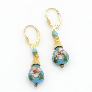 14K Gold Filled Dangle Drop Earrings Blue Turquoise Cloisonné Leverbacks