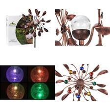 Garden Wind Spinner Yard Windmill Multi Color Kinetic Solar Powered Light Decor