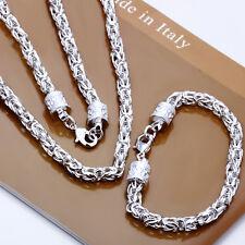 Cool 925Sterling Silver New Dragon Head Men Necklace Bracelet Set SY027 + Box