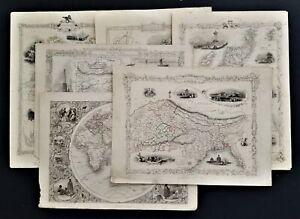 1851? antique LOT 6 JOHN TALLIS MAPS scotland india e hemi cabool russia europe