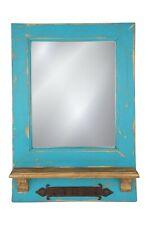 Dos Santos Mirror-Key Holder-Farmhouse-Primitive-16x24 in-Rustic-Wood-Turquoise