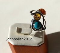 Three Stones Turquoise  Baltic Amber's Ring Silver 925.