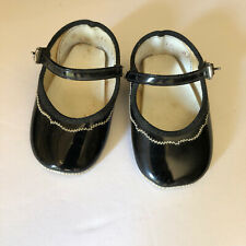 Vintage Soft Sole Black Patent Leather White Stitching Baby Dress Shoes Size 0
