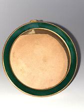 Ancien Cadre photo rond en Bronze émaillé vert - verre anti reflet