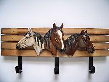 Western Glass Horse Heads Wall Hanger Hooks Rustic Equestrian Gift Sculptur Wood